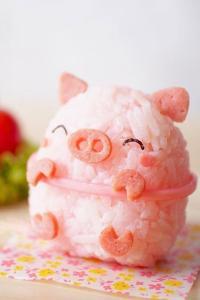 粉色小猪造型 可爱饭团