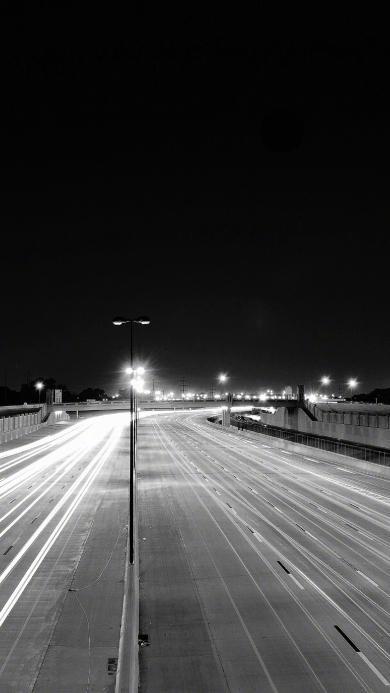 公路 夜 黑白 灯光