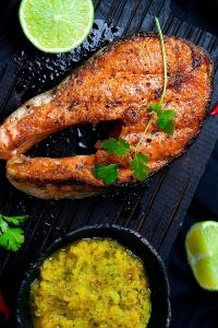 马鲛鱼 煎鱼 肉 海鲜 青柠 酱料