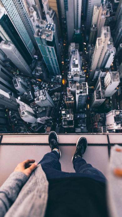 城市 建筑 高楼大厦 俯视 双腿