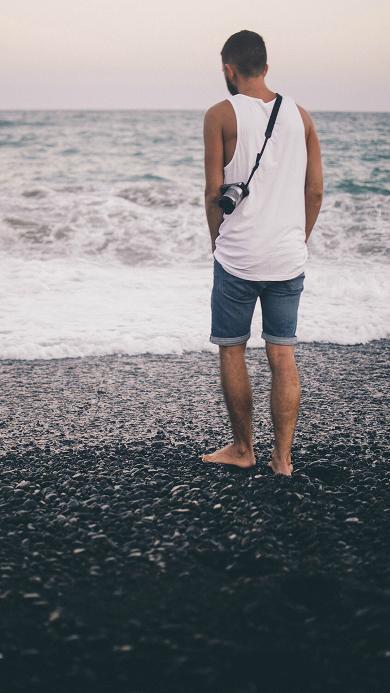 大海 风景 背影 男生