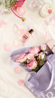 玫瑰 粉色 浪漫 香水 女性 时尚 花瓣