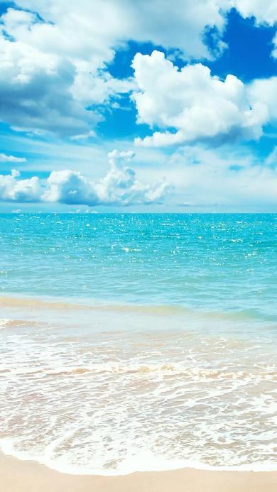 海边 碧海蓝天 清澈海水