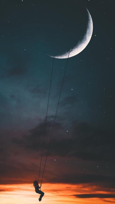 创意拍摄 夜空 在月球下荡秋千的女孩