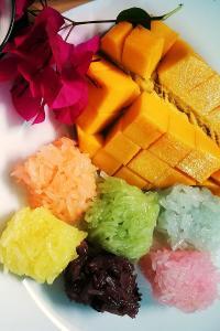 芒果 水果 饭团 彩色 糯米 食物