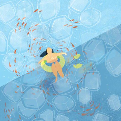 夏日 水 插画 蓝色 冰块 鱼