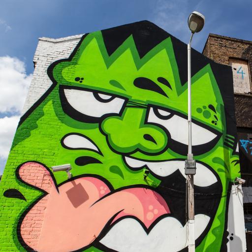 绿巨人 街头 涂鸦 手绘 潮流 个性 房屋 墙