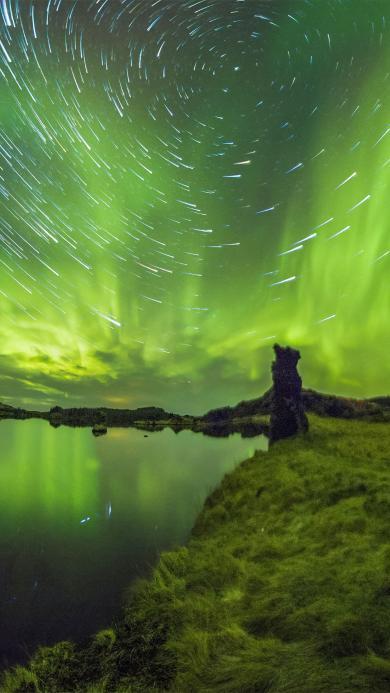 绿色极光美景 放射线