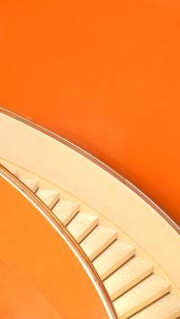 楼梯 旋转 阶梯 橙色 色彩 艳丽 简约