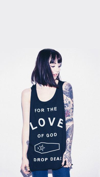个性 纹身 美女 无袖