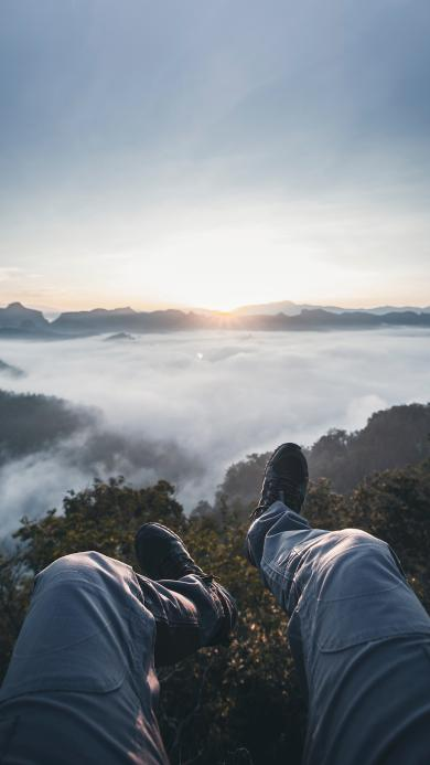 山顶 登高 云海 山峰 日出