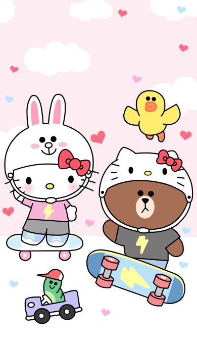 Hello Kitty 凯特猫 粉色 line 布朗熊 可妮兔 萨莉鸡 滑板