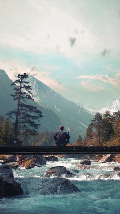 山水 风景 景色 背影