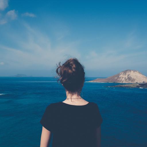背影 大海 海岸 天空