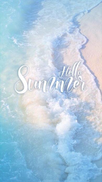 夏天清新壁纸 大海 浪花 hello summer