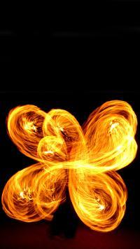 创意 火光 火焰花  火焰 杂耍 夜晚