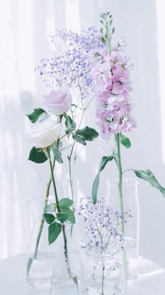 插花 白色玫瑰 粉色玫瑰 满天星