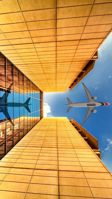 飞机 高楼 建筑 天空 航空 飞行