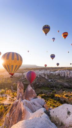 热气球 游玩 上升 高空 景色