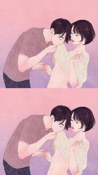 zipcy 韩国插画 男孩 唯美 情侣 触摸