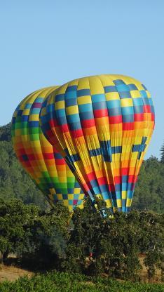 郊外风景 平底 树木 热气球 彩色