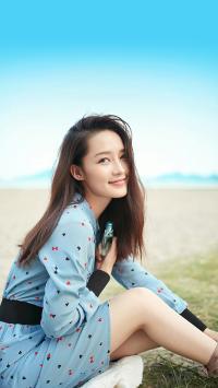 李沁 演员 明星 艺人 甜美 蓝色