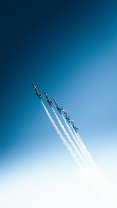 战斗机 航空 飞行 飞机 蓝色 天空 烟雾