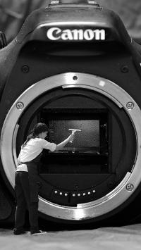 创意摄影 黑白 数码相机 清洁摄像头