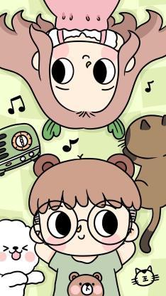 卡通情侣 可爱 戴眼镜男孩