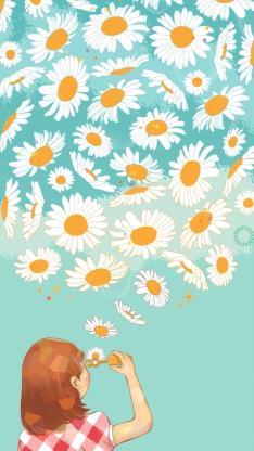 吹泡泡 向日葵 创意 女孩