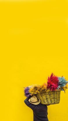 麦穗 染色 色彩 男子 背影 黄 编织篮