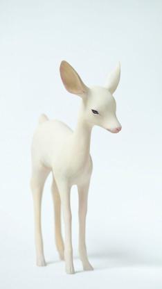 鹿 木雕 艺术品 摆件 雕刻 白色