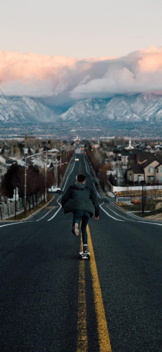 滑板 马路 背影 运动 路