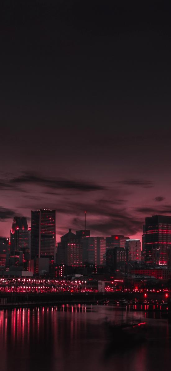 城市夜景 建筑 高楼大厦 水面 倒影