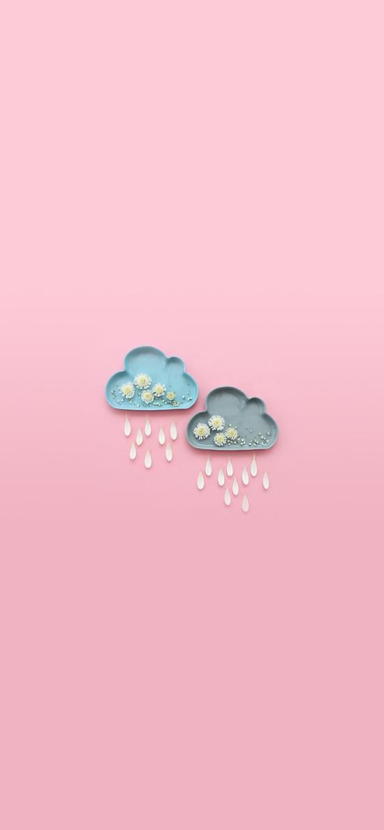 粉色 云朵 下雨 陶瓷 盘子 创意 雏菊 浪漫