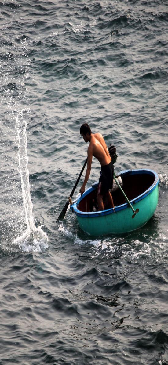 海景 海上的小渔船 捕鱼