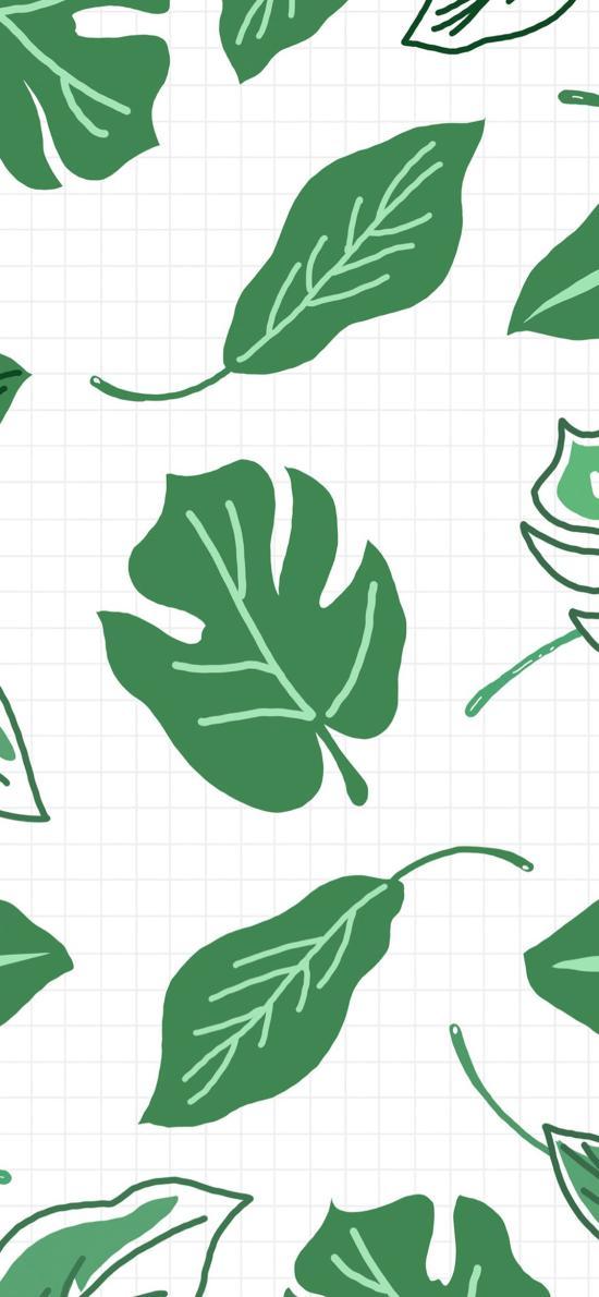 格子背景 手绘绿叶 平铺