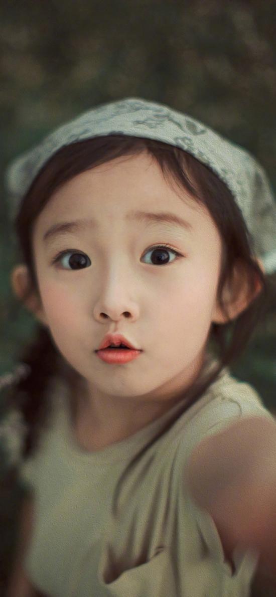 小女孩 可爱 自拍 头巾 儿童