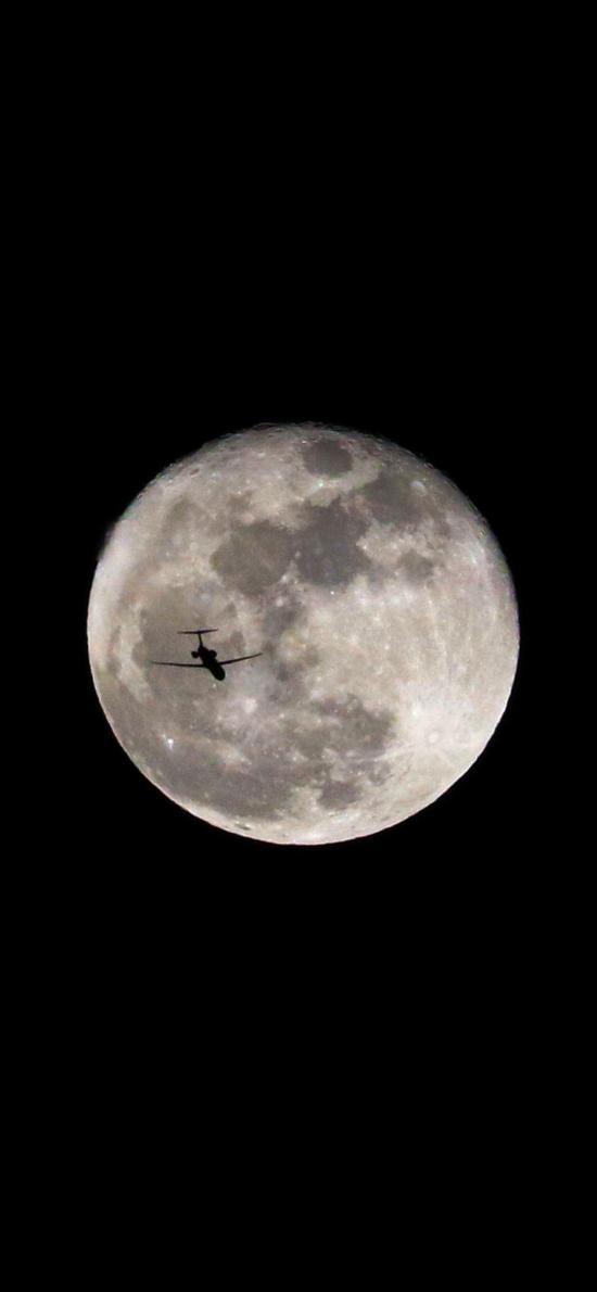 黑色背景 月球 飞机 飞行