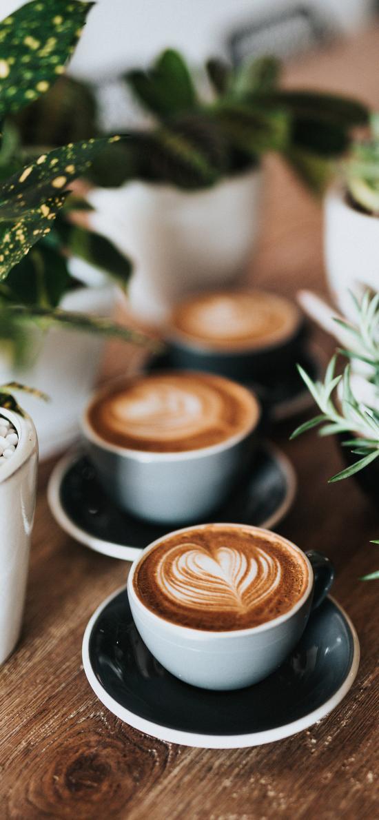 咖啡 盆栽 拉花 瓷杯
