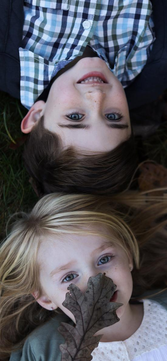 蓝瞳 欧美 女孩 男孩 笑容
