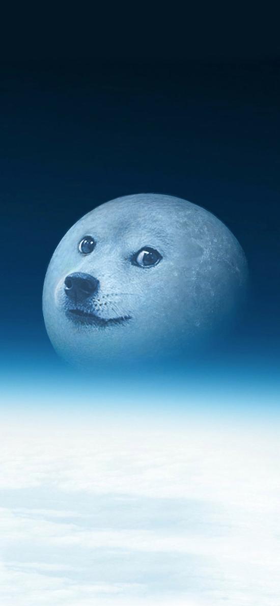狗子 月球 微笑 渐变