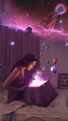 美女 礼盒 创意 热气球 梦幻星空