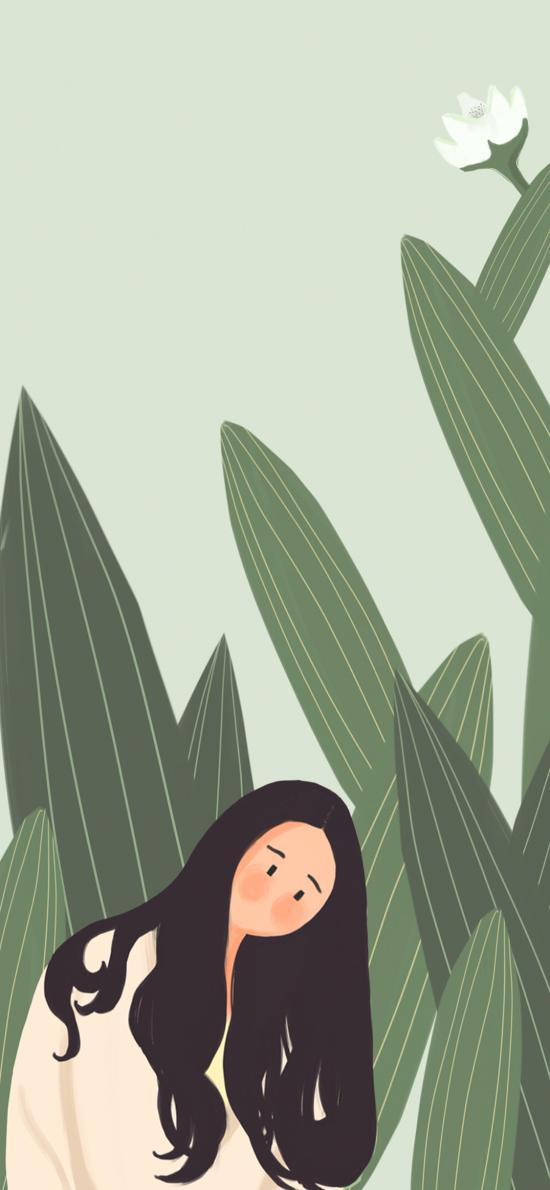 创意插画 绿植  长发女孩
