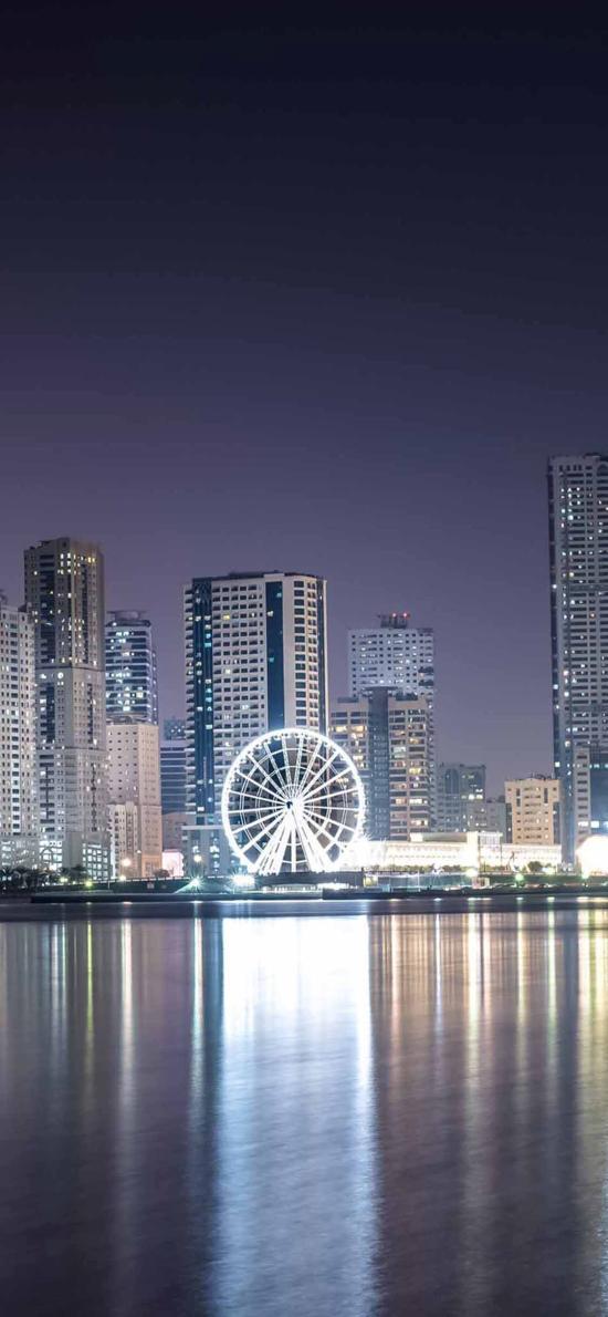 都市夜景 摩天轮 灯光繁华