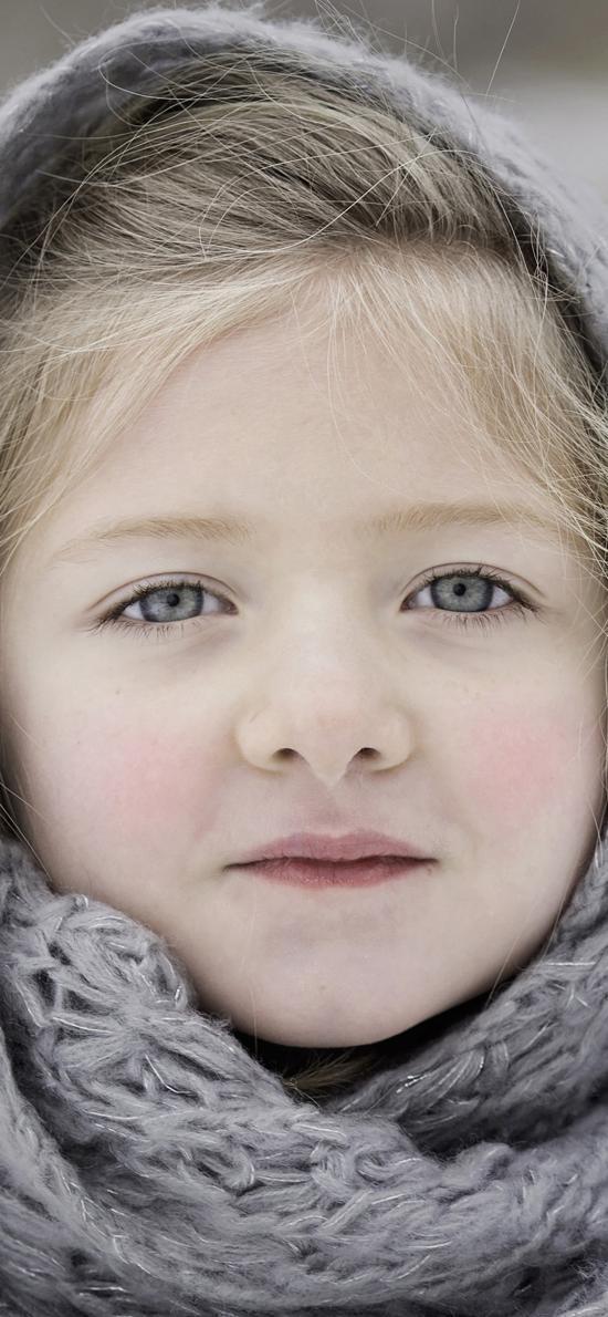 欧美小女孩 漂亮 灰瞳 冬季