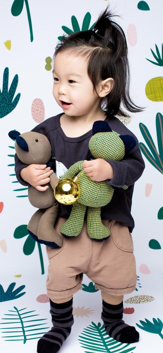 可爱 小女孩 写真 玩偶