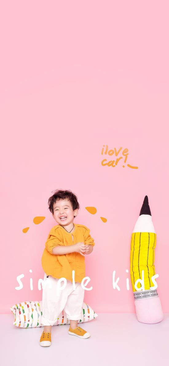 粉色背景 萌娃 小男孩 simple kids