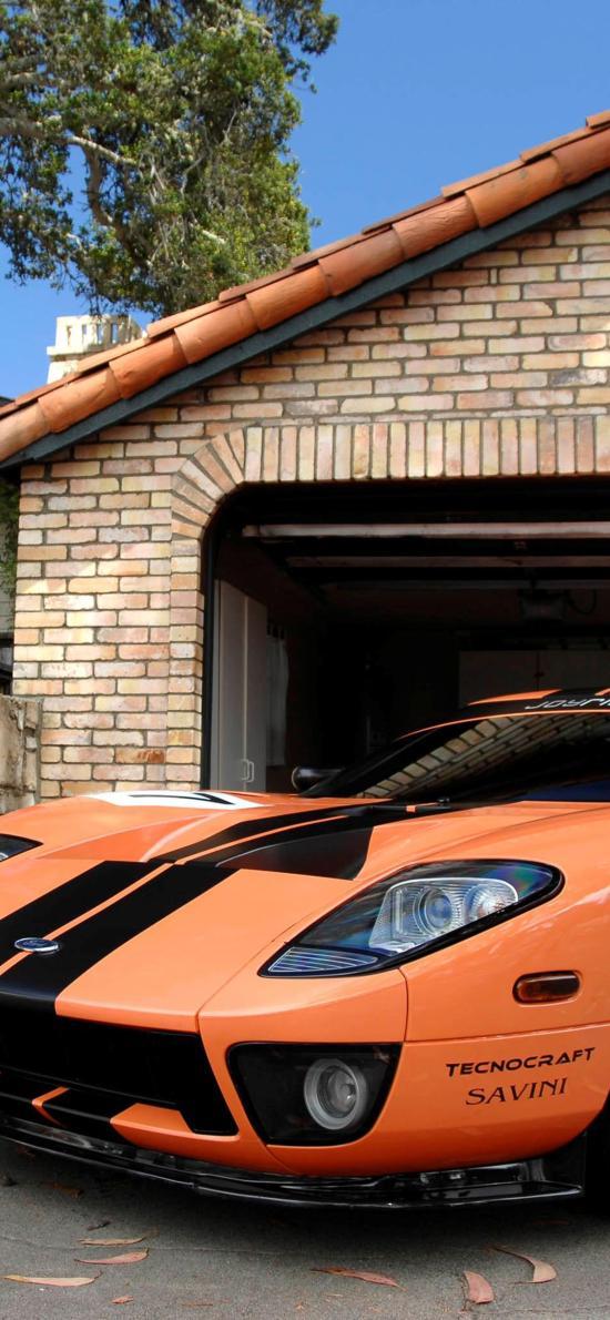 拉风 跑车 橘色 房屋
