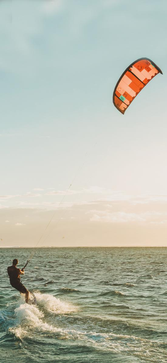 滑伞 海水 天空 水上滑伞